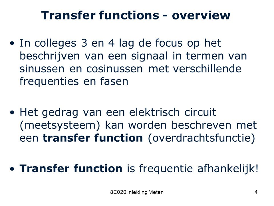 Transfer functions - overview