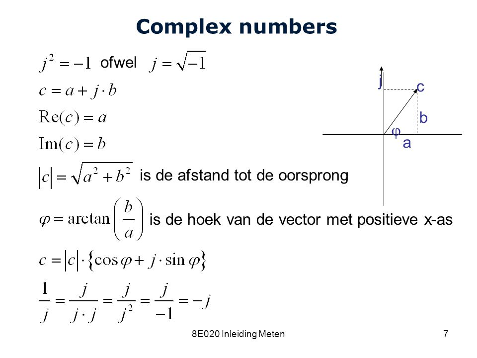 Complex numbers ofwel j c b  a is de afstand tot de oorsprong