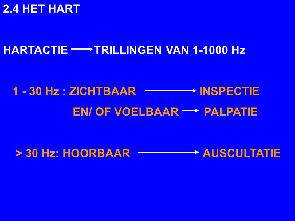 2.4 HET HART HARTACTIE TRILLINGEN VAN 1-1000 Hz. 1 - 30 Hz : ZICHTBAAR INSPECTIE.