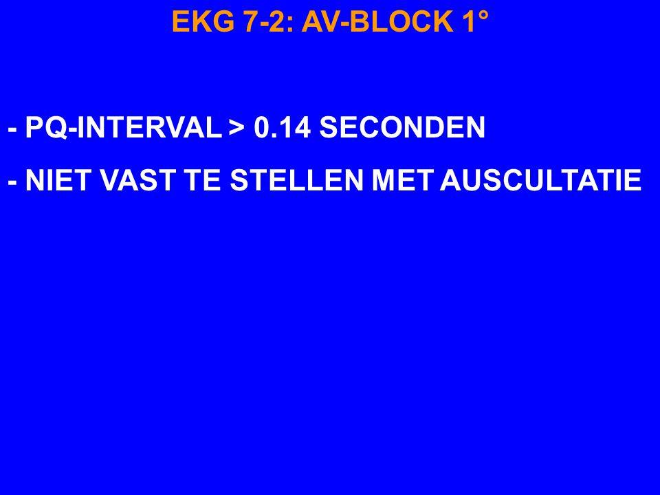 EKG 7-2: AV-BLOCK 1° - PQ-INTERVAL > 0.14 SECONDEN - NIET VAST TE STELLEN MET AUSCULTATIE