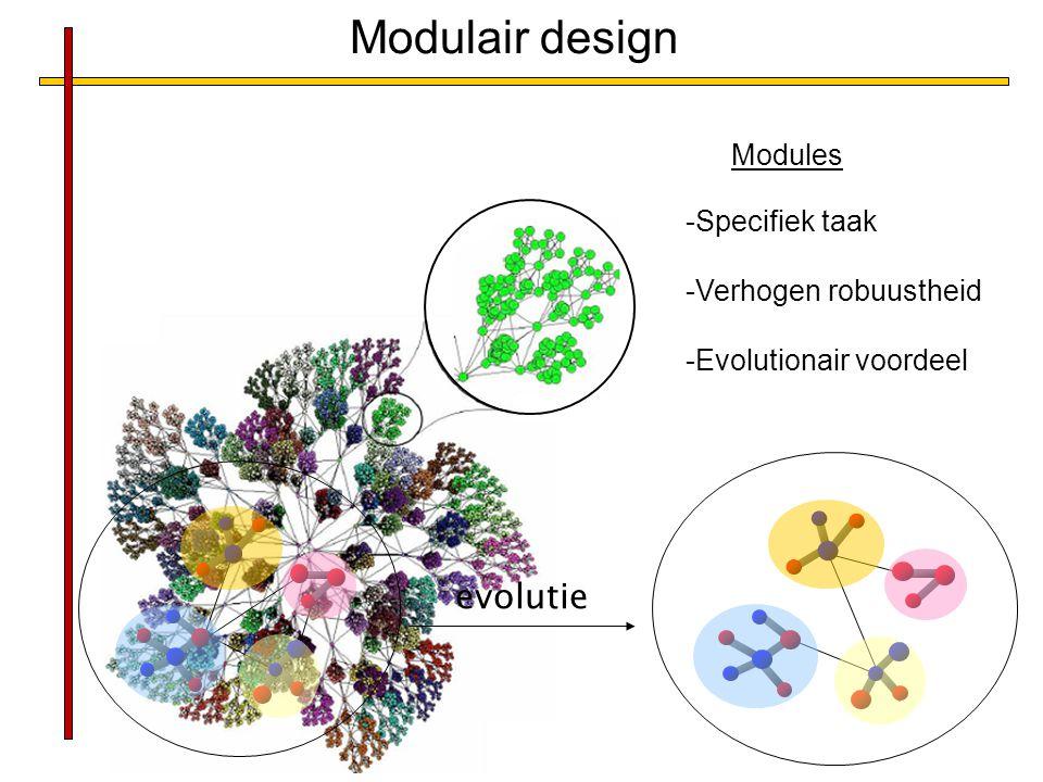 Modulair design evolutie Modules Specifiek taak Verhogen robuustheid