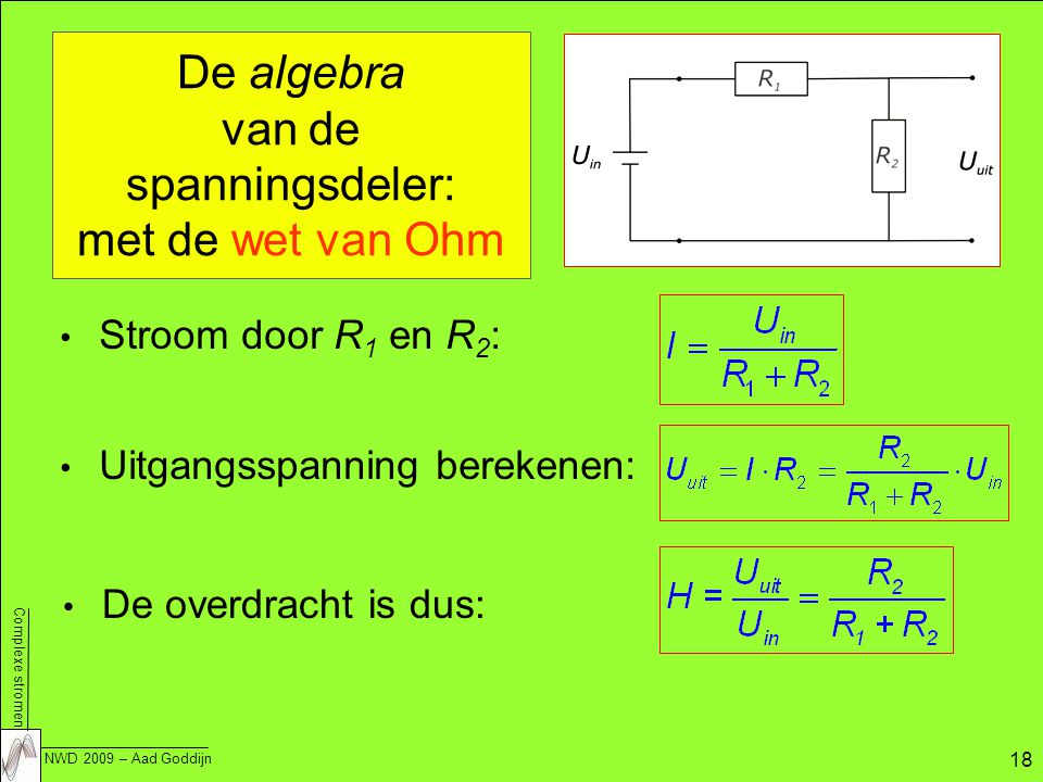 De algebra van de spanningsdeler: met de wet van Ohm