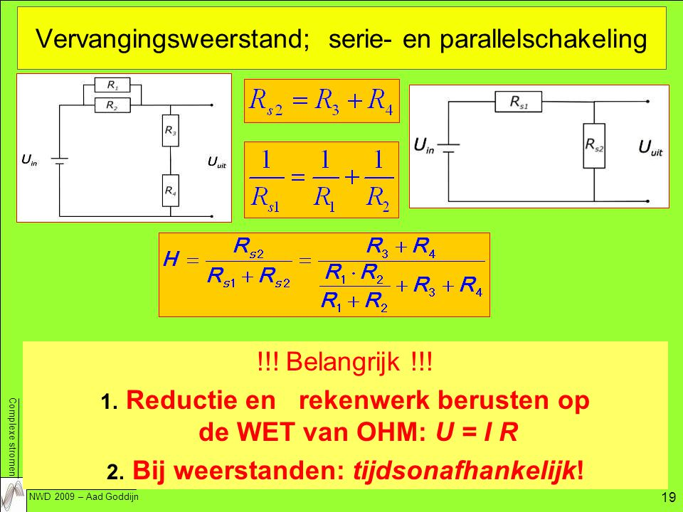 Vervangingsweerstand; serie- en parallelschakeling