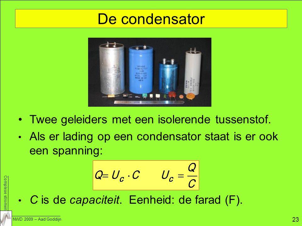 De condensator Twee geleiders met een isolerende tussenstof.