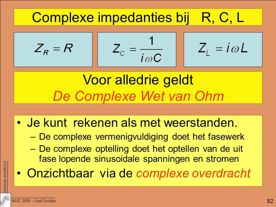 Complexe impedanties bij R, C, L