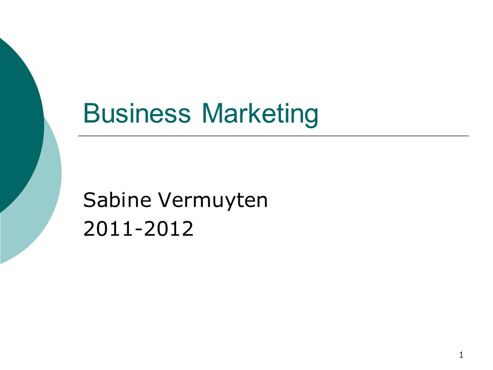 Business Marketing Sabine Vermuyten 2011-2012