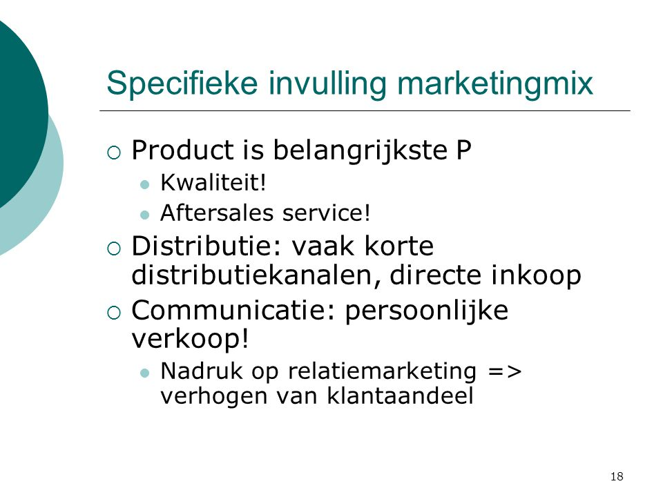 Specifieke invulling marketingmix