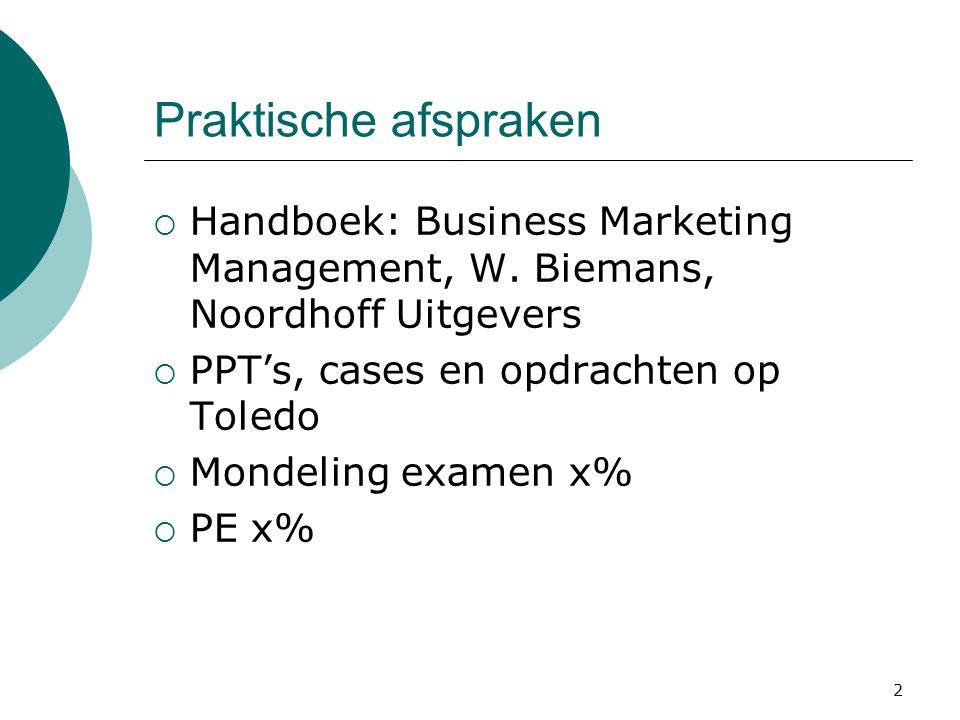 Praktische afspraken Handboek: Business Marketing Management, W. Biemans, Noordhoff Uitgevers. PPT's, cases en opdrachten op Toledo.