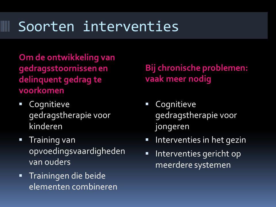 Soorten interventies Om de ontwikkeling van gedragsstoornissen en delinquent gedrag te voorkomen.