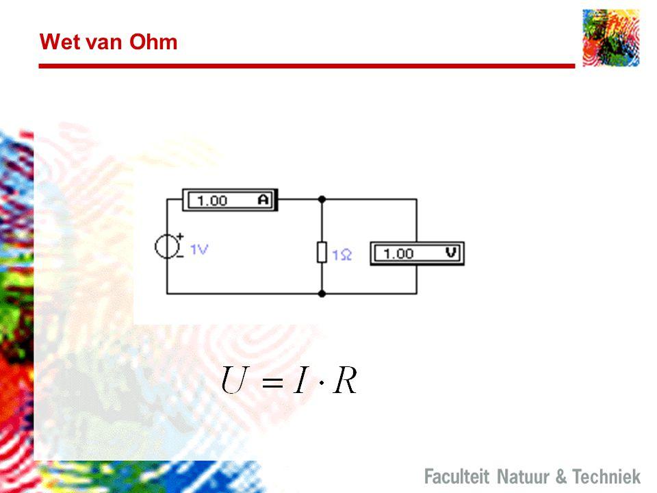 Wet van Ohm Hier is de stroom evenredig met de spanning. Het verband tussen spanning en stroom is dus een lineaire functie.
