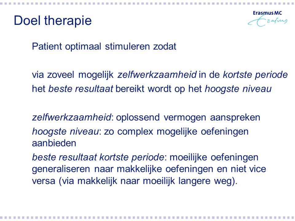Doel therapie Patient optimaal stimuleren zodat. via zoveel mogelijk zelfwerkzaamheid in de kortste periode.