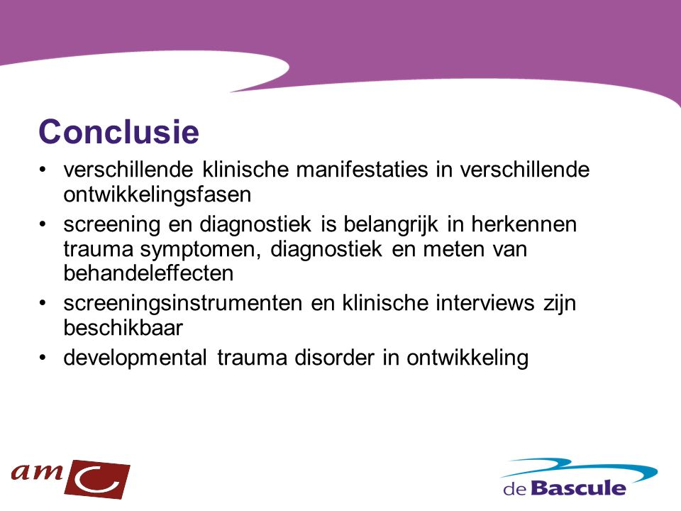 Conclusie verschillende klinische manifestaties in verschillende ontwikkelingsfasen.