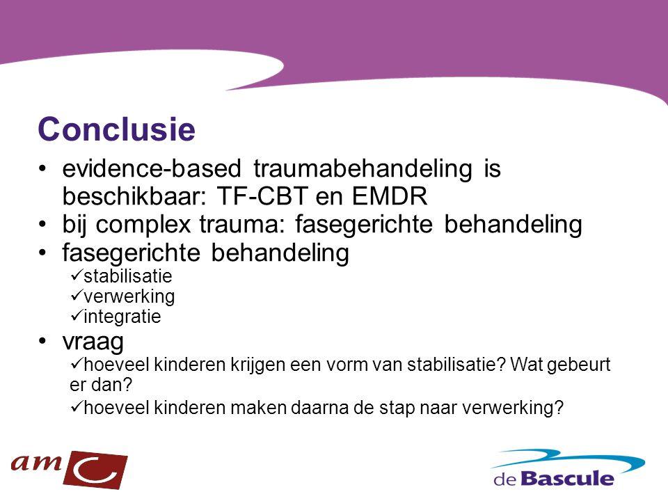 Conclusie evidence-based traumabehandeling is beschikbaar: TF-CBT en EMDR. bij complex trauma: fasegerichte behandeling.
