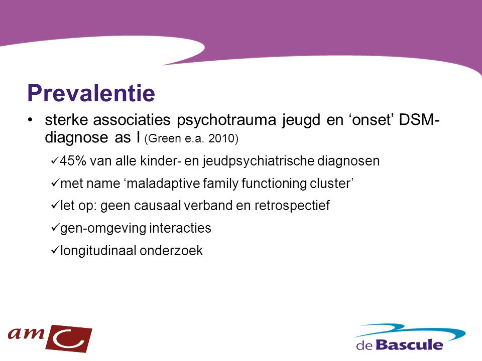 Prevalentie sterke associaties psychotrauma jeugd en 'onset' DSM-diagnose as I (Green e.a. 2010)