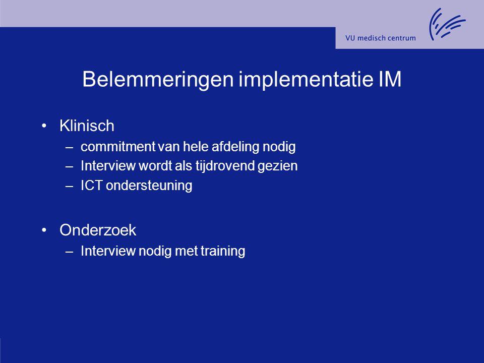 Belemmeringen implementatie IM