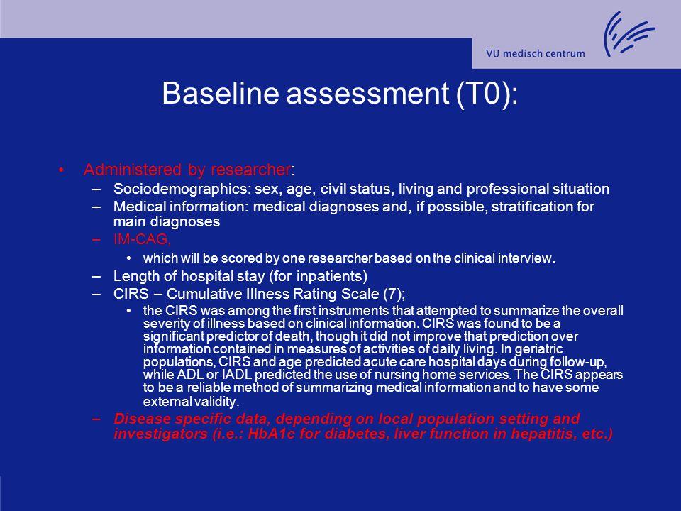 Baseline assessment (T0):