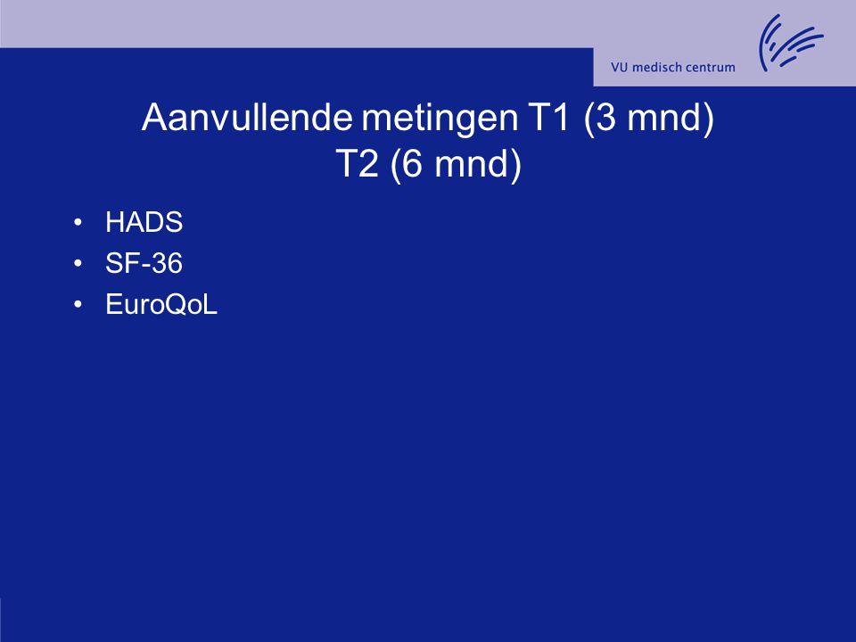 Aanvullende metingen T1 (3 mnd) T2 (6 mnd)
