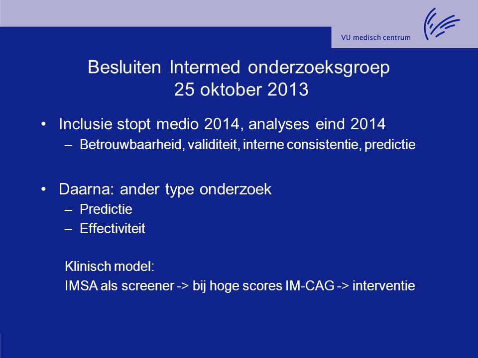 Besluiten Intermed onderzoeksgroep 25 oktober 2013