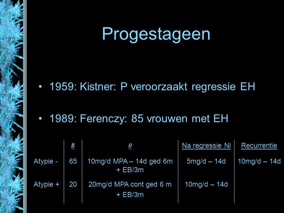 Progestageen 1959: Kistner: P veroorzaakt regressie EH