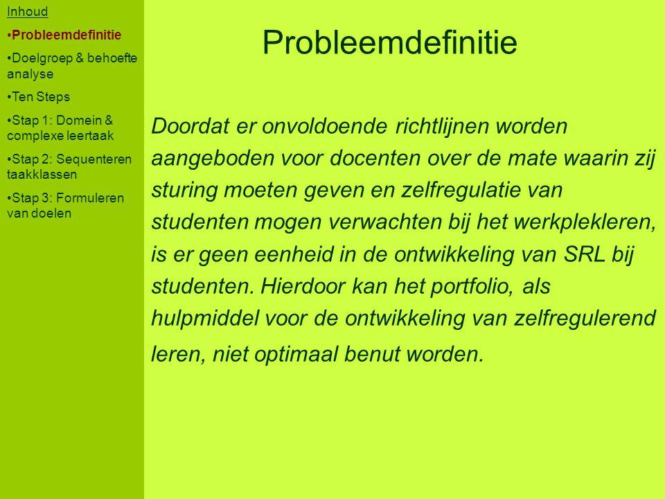 Probleemdefinitie Doordat er onvoldoende richtlijnen worden