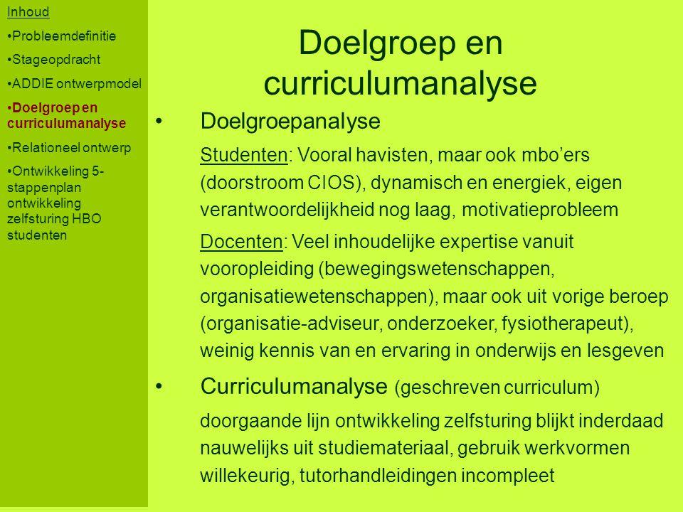 Doelgroep en curriculumanalyse