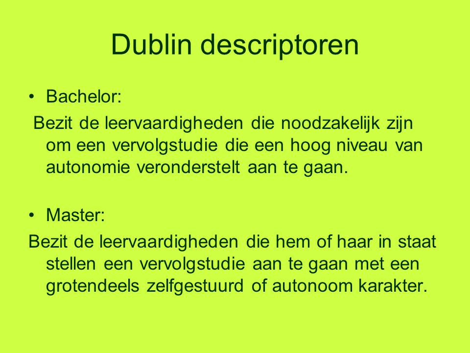 Dublin descriptoren Bachelor: