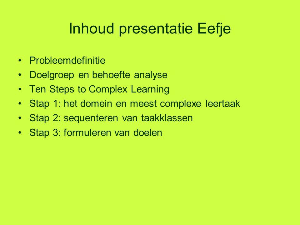 Inhoud presentatie Eefje