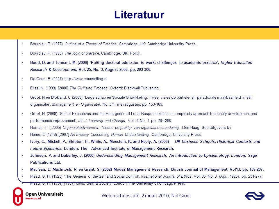 Literatuur Wetenschapscafé, 2 maart 2010, Nol Groot