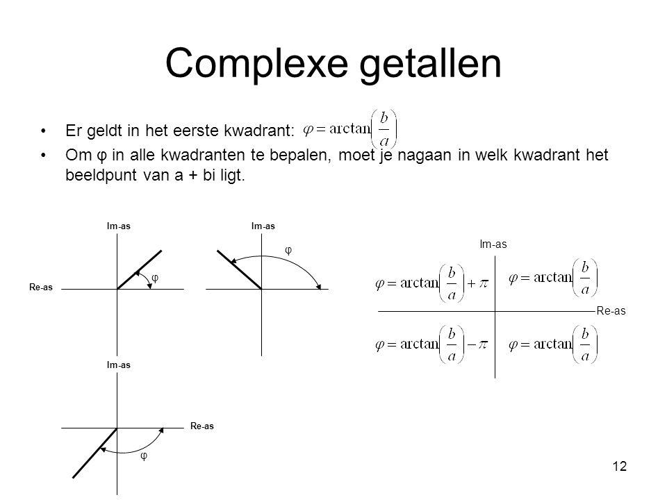 Complexe getallen Er geldt in het eerste kwadrant:
