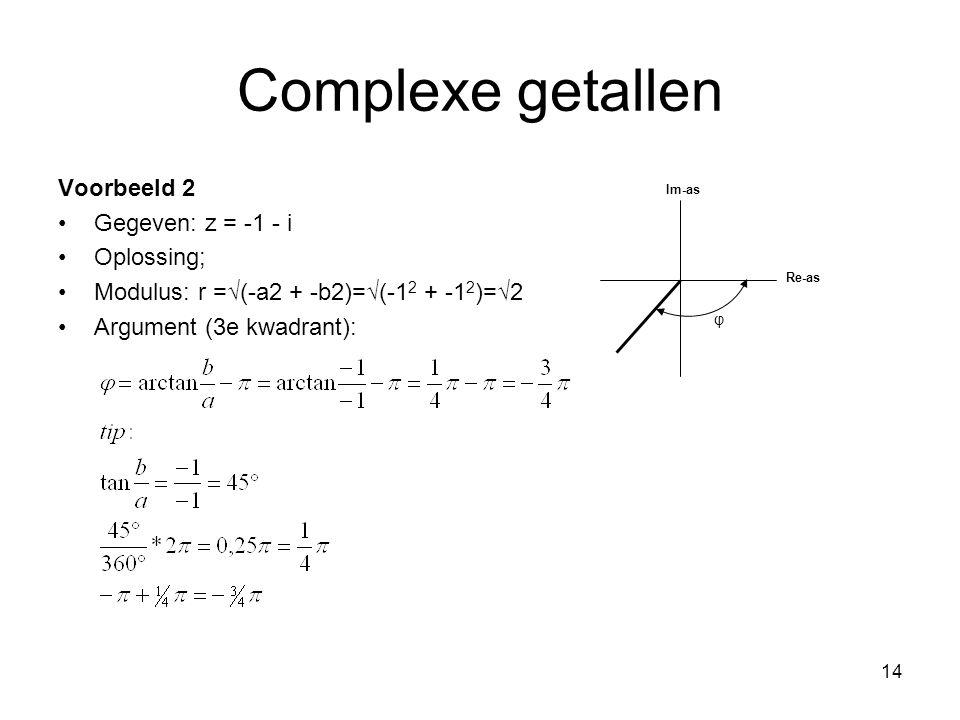 Complexe getallen Voorbeeld 2 Gegeven: z = -1 - i Oplossing;