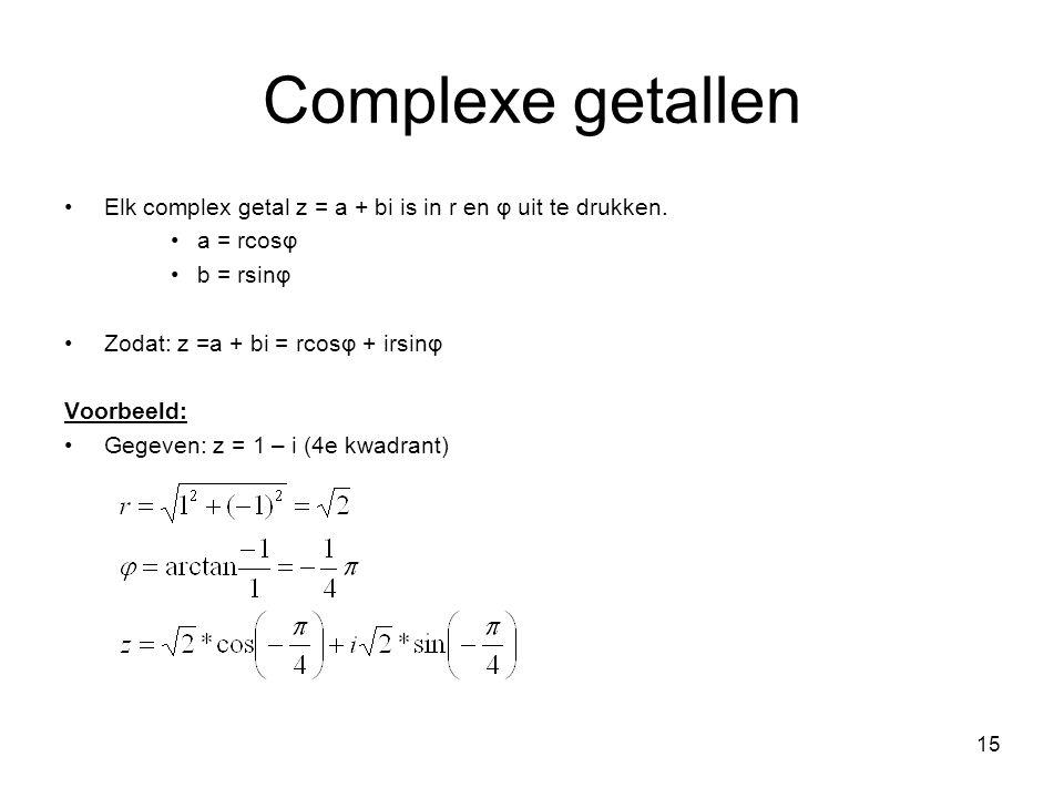 Complexe getallen Elk complex getal z = a + bi is in r en φ uit te drukken. a = rcosφ. b = rsinφ.