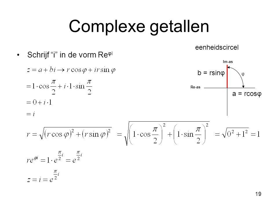Complexe getallen Schrijf i in de vorm Reφi eenheidscircel b = rsinφ