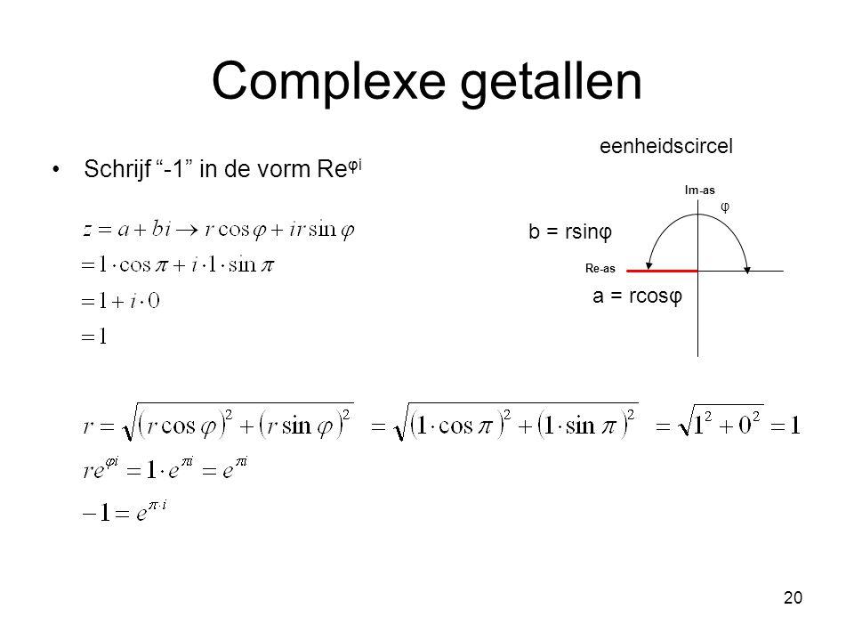 Complexe getallen Schrijf -1 in de vorm Reφi eenheidscircel