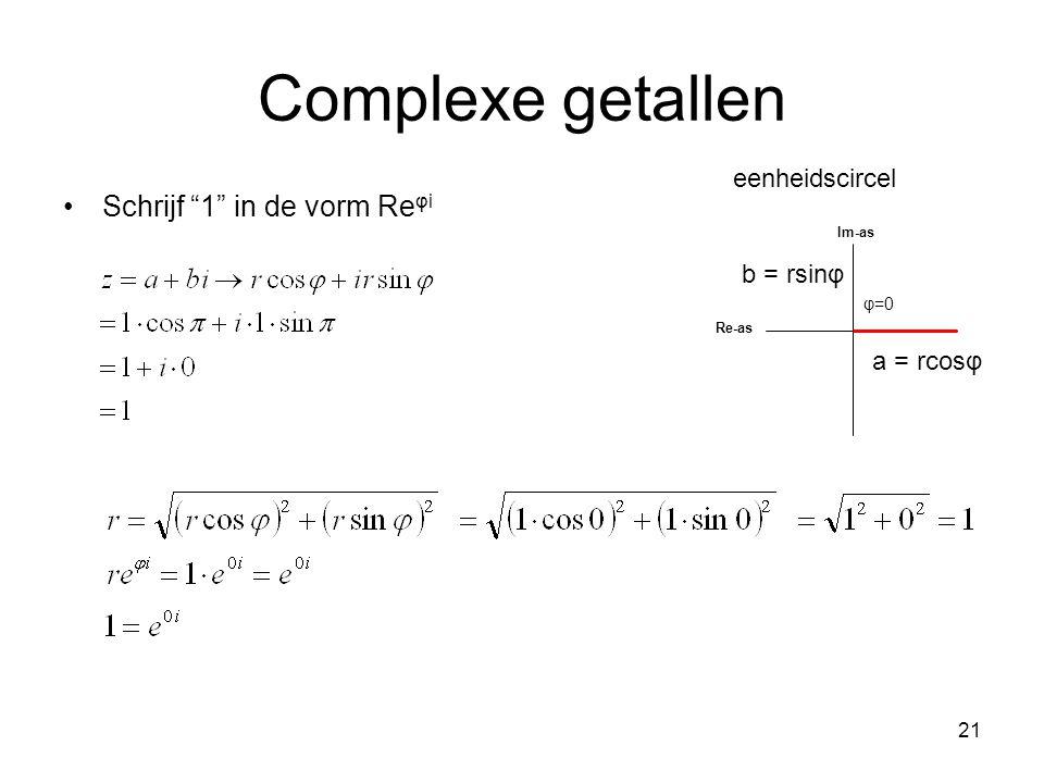 Complexe getallen Schrijf 1 in de vorm Reφi eenheidscircel b = rsinφ