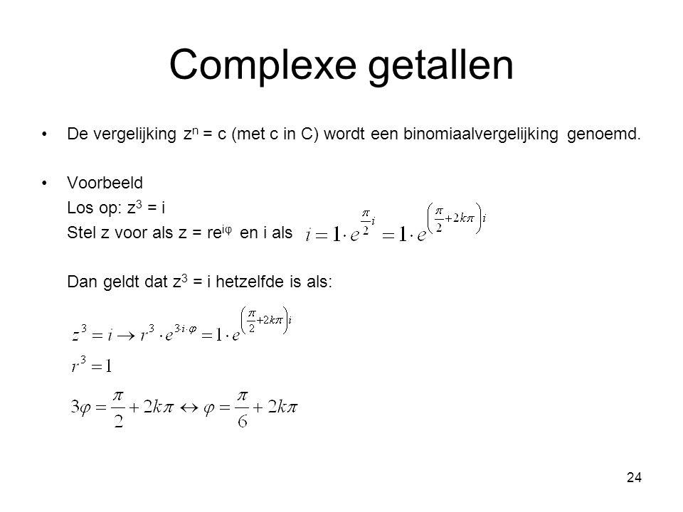 Complexe getallen De vergelijking zn = c (met c in C) wordt een binomiaalvergelijking genoemd. Voorbeeld.