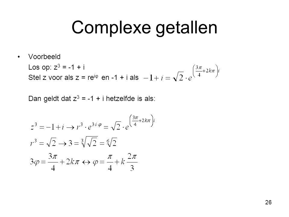 Complexe getallen Voorbeeld Los op: z3 = -1 + i