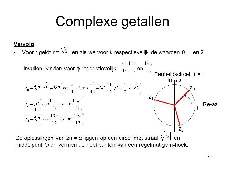 Complexe getallen Vervolg