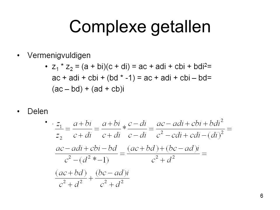 Complexe getallen Vermenigvuldigen