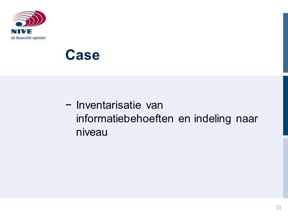 Case Inventarisatie van informatiebehoeften en indeling naar niveau