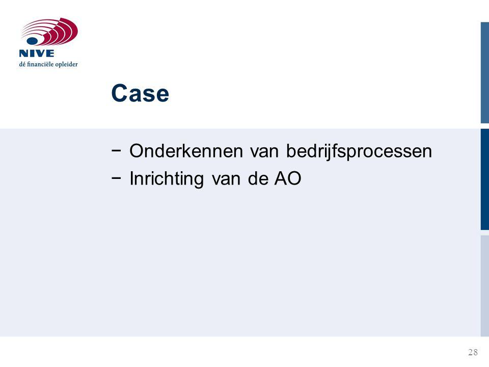 Case Onderkennen van bedrijfsprocessen Inrichting van de AO