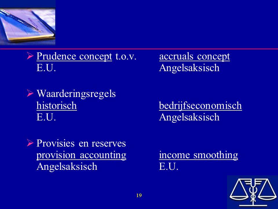 Prudence concept t.o.v. accruals concept E.U. Angelsaksisch
