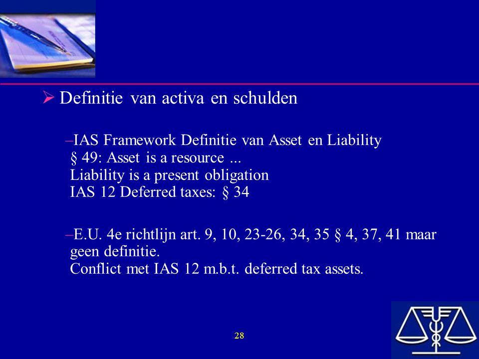 Definitie van activa en schulden