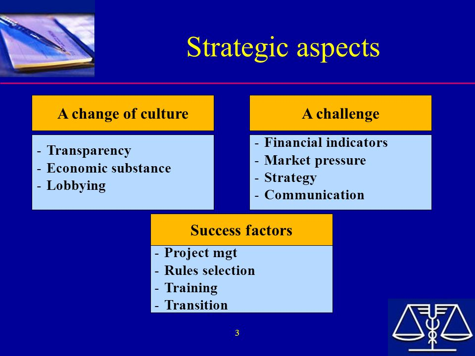 Strategic aspects A change of culture A challenge Success factors