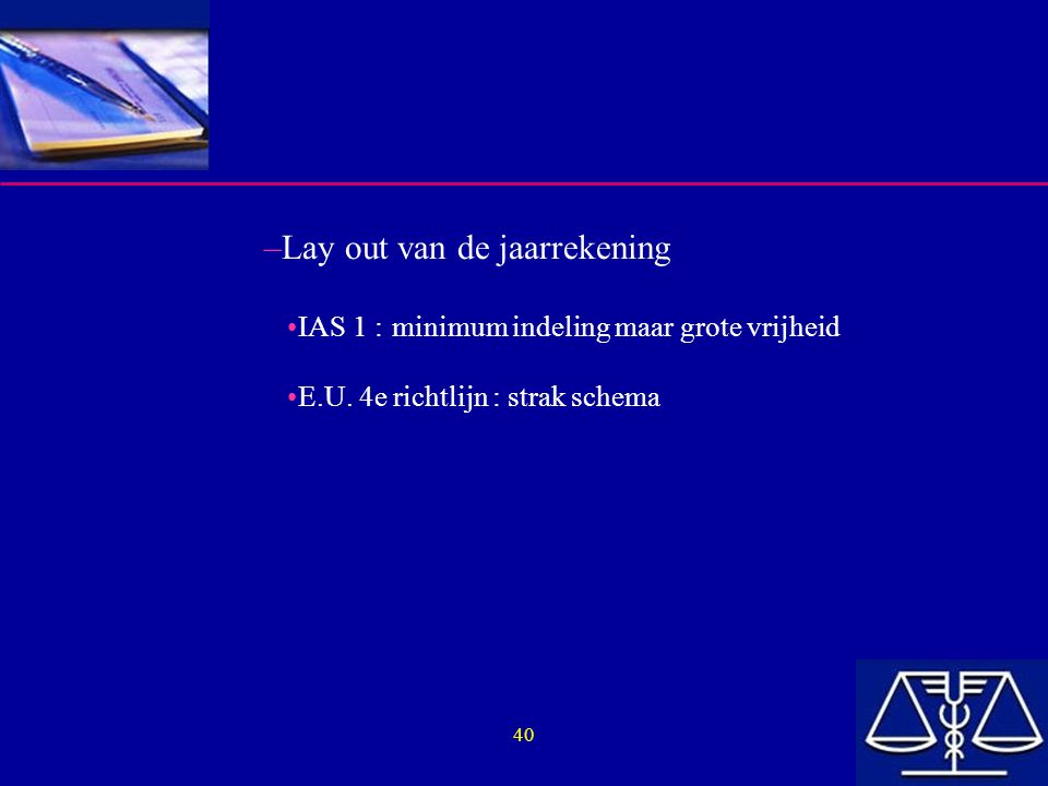 Lay out van de jaarrekening