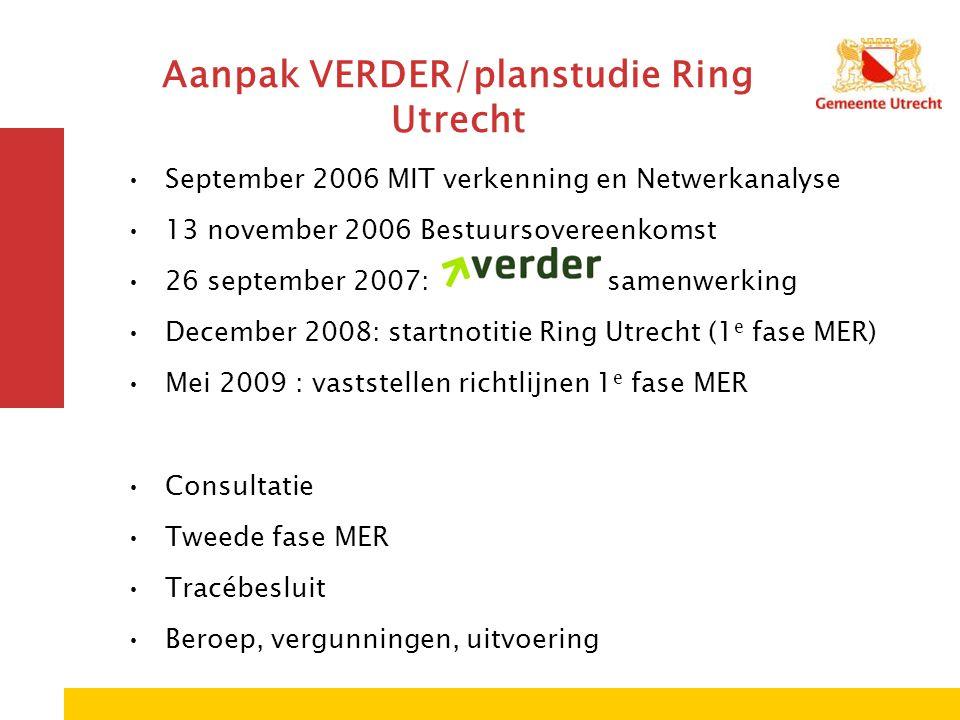 Aanpak VERDER/planstudie Ring Utrecht