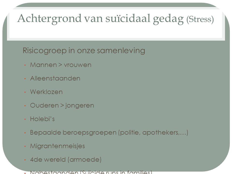 Achtergrond van suïcidaal gedag (Stress)