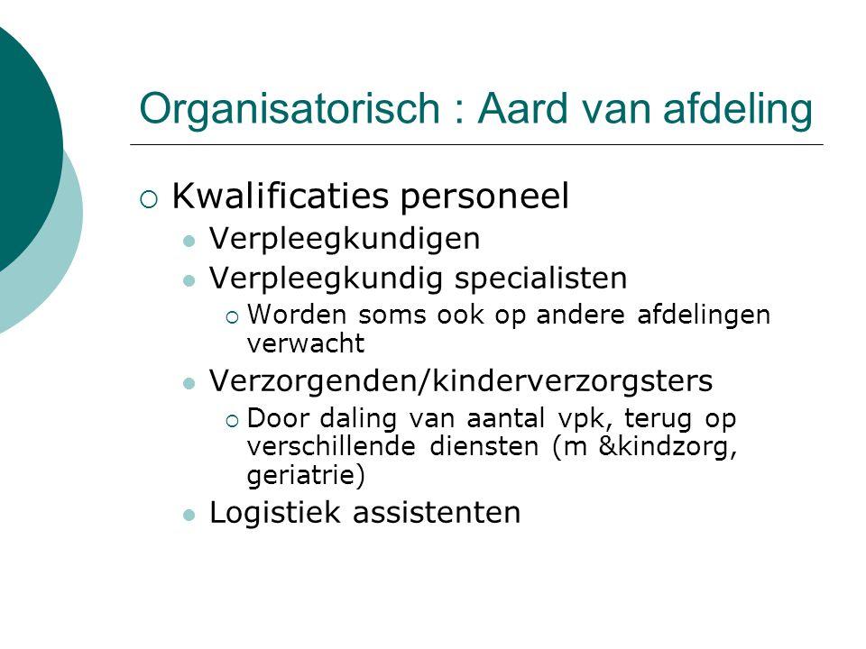 Organisatorisch : Aard van afdeling