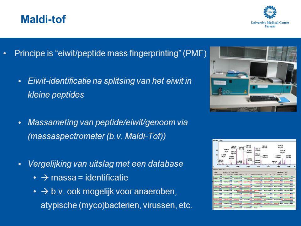 Maldi-tof Principe is eiwit/peptide mass fingerprinting (PMF)