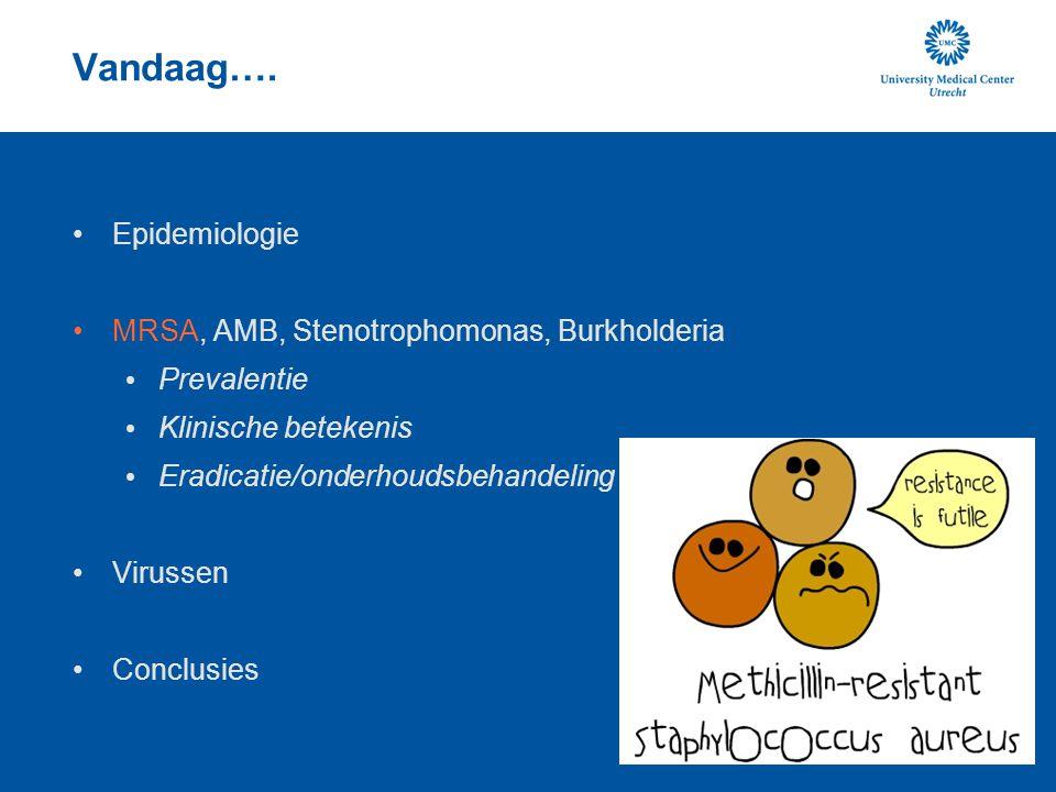 Vandaag…. Epidemiologie MRSA, AMB, Stenotrophomonas, Burkholderia