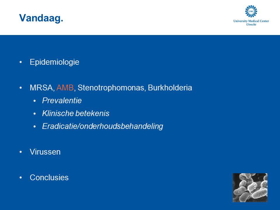 Vandaag. Epidemiologie MRSA, AMB, Stenotrophomonas, Burkholderia